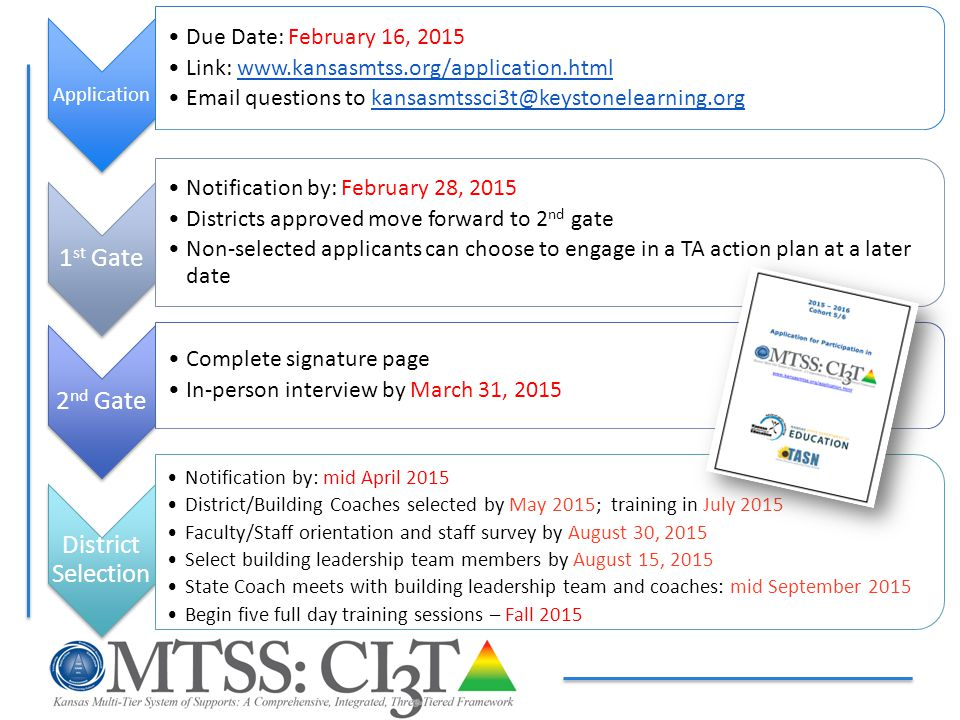 Application Due Date: February 16, 2015 Link: www.kansasmtss.org/application.htmlwww.kansasmtss.org/application.html Email questions to kansasmtssci3t