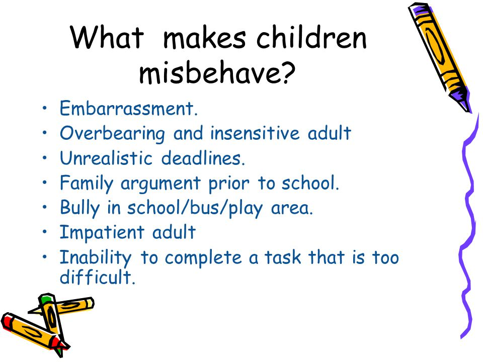 What makes children misbehave? Embarrassment. Overbearing and insensitive adult Unrealistic deadlines. Family argument prior to school. Bully in schoo