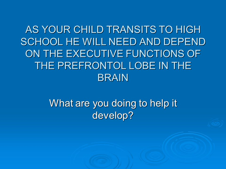 AS YOUR CHILD TRANSITS TO HIGH SCHOOL HE WILL NEED AND DEPEND ON THE EXECUTIVE FUNCTIONS OF THE PREFRONTOL LOBE IN THE BRAIN What are you doing to help it develop?