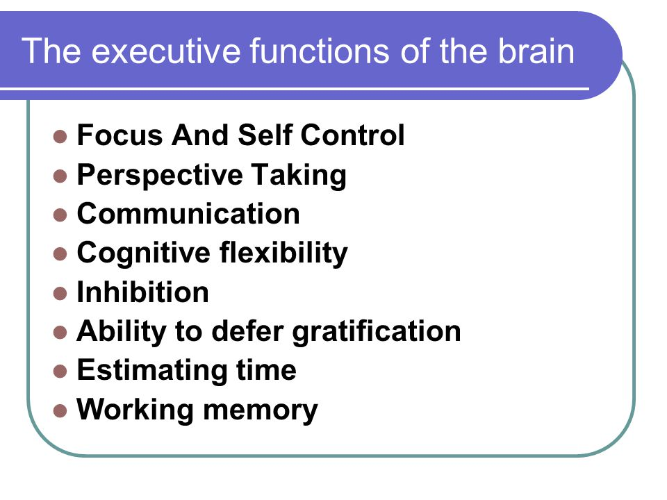 The executive functions of the brain Focus And Self Control Perspective Taking Communication Cognitive flexibility Inhibition Ability to defer gratification Estimating time Working memory