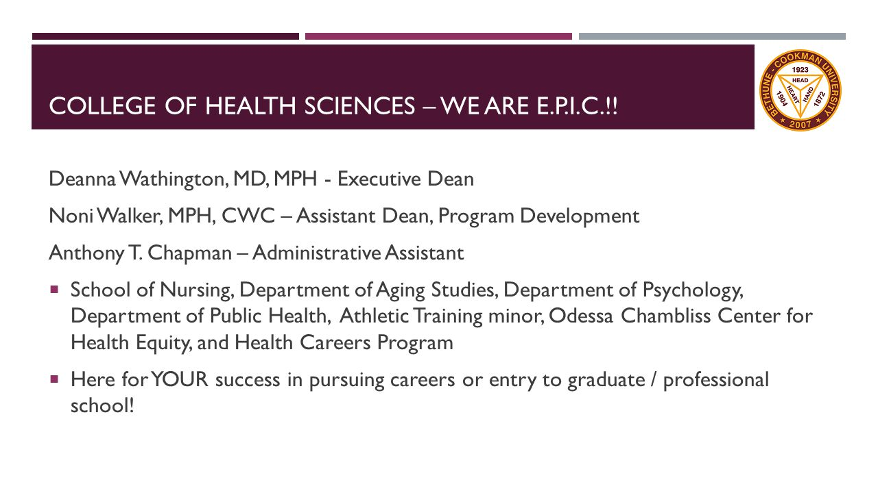 HEALTH CAREERS PROGRAM College of Health Sciences & School of Science, Engineering and Mathematics Some of our goals:  Prepare pre-professional students in becoming competitive and successful applicants to health professional programs.