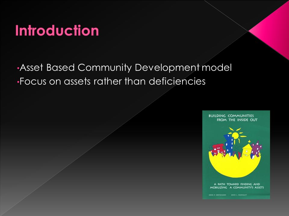 Asset Based Community Development model Focus on assets rather than deficiencies