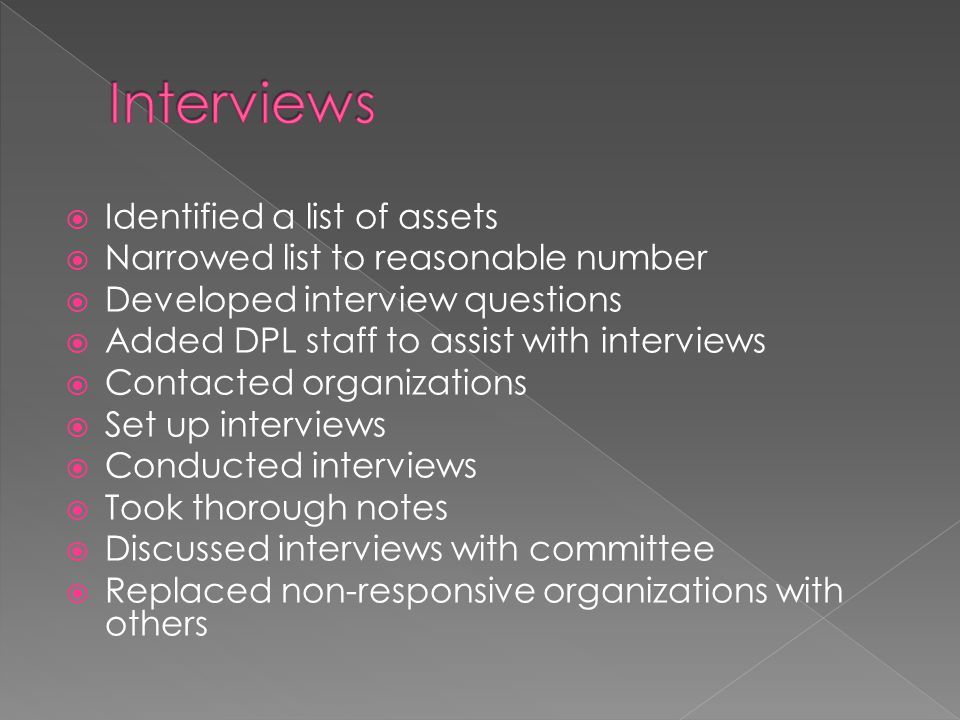  Identified a list of assets  Narrowed list to reasonable number  Developed interview questions  Added DPL staff to assist with interviews  Conta