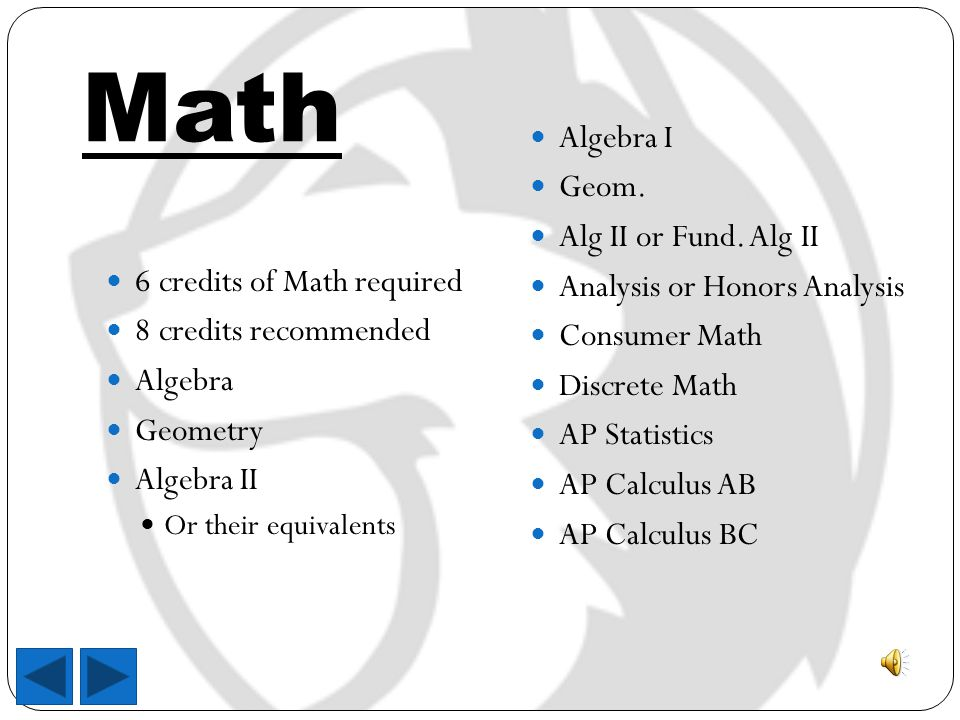 Math 6 credits of Math required 8 credits recommended Algebra Geometry Algebra II Or their equivalents Algebra I Geom.