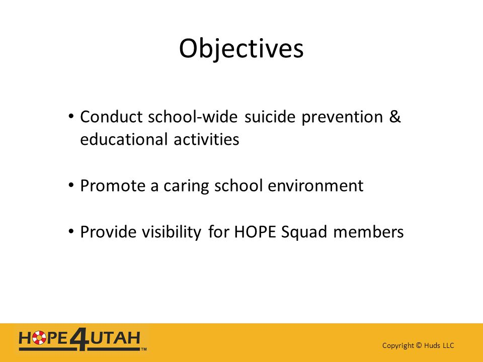 Conduct school-wide suicide prevention & educational activities Promote a caring school environment Provide visibility for HOPE Squad members Copyrigh