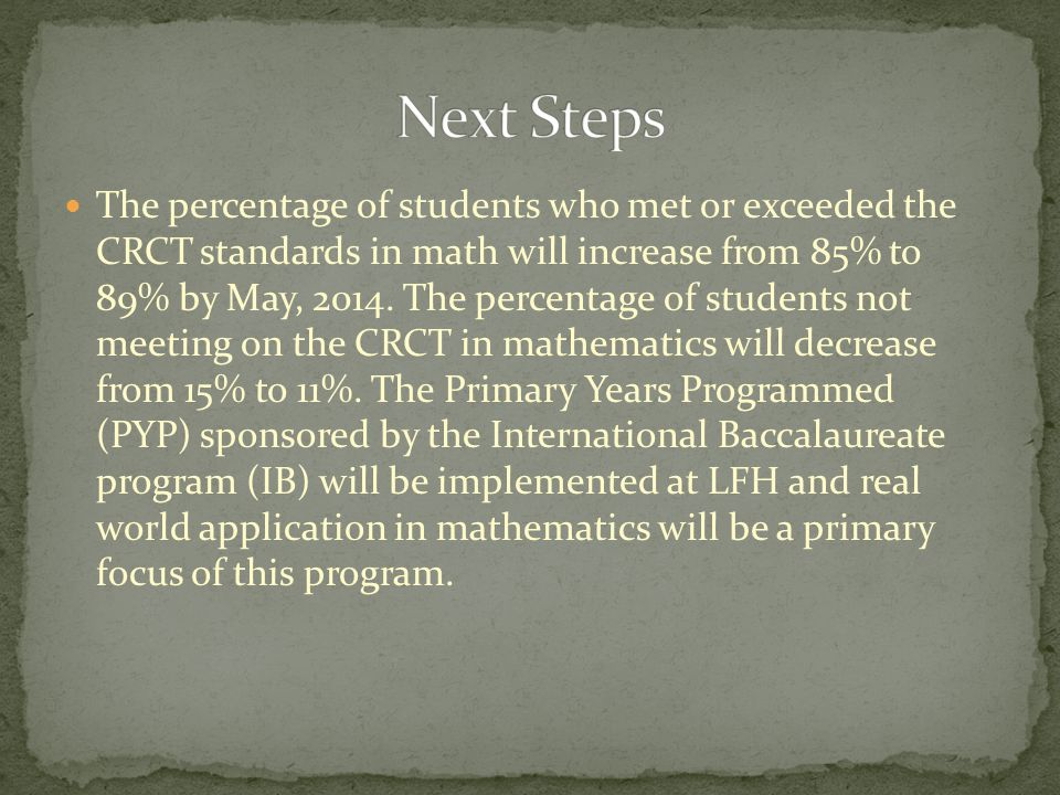 The percentage of students who met or exceeded the CRCT standards in math will increase from 85% to 89% by May, 2014.
