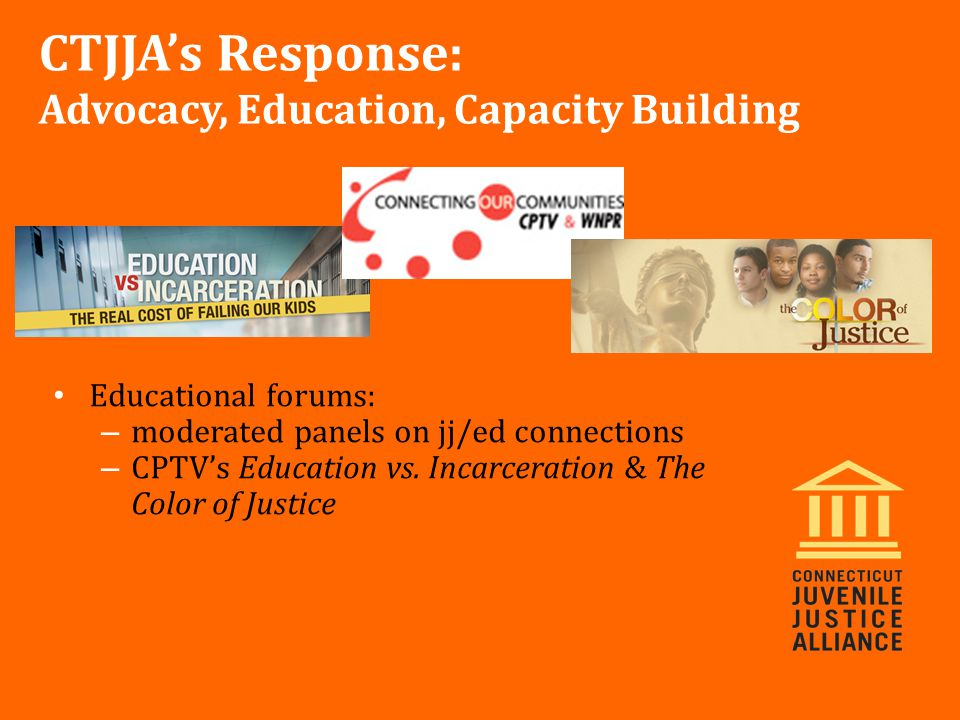 Educational forums: – moderated panels on jj/ed connections – CPTV's Education vs.