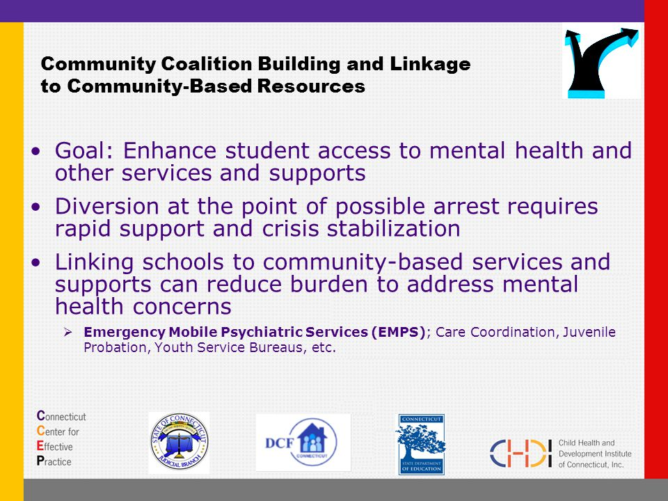 Community Coalition Building and Linkage to Community-Based Resources Goal: Enhance student access to mental health and other services and supports Diversion at the point of possible arrest requires rapid support and crisis stabilization Linking schools to community-based services and supports can reduce burden to address mental health concerns  Emergency Mobile Psychiatric Services (EMPS); Care Coordination, Juvenile Probation, Youth Service Bureaus, etc.