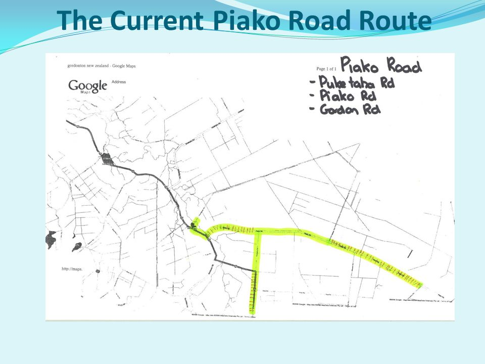 The Current Piako Road Route