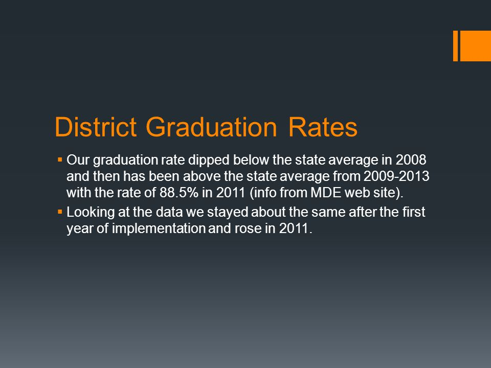 District Graduation Rates  Our graduation rate dipped below the state average in 2008 and then has been above the state average from 2009-2013 with the rate of 88.5% in 2011 (info from MDE web site).