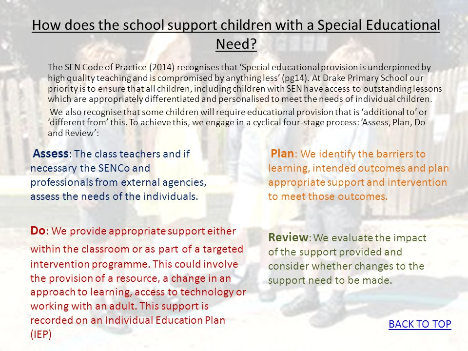 How does the school support children with a Special Educational Need? The SEN Code of Practice (2014) recognises that 'Special educational provision i