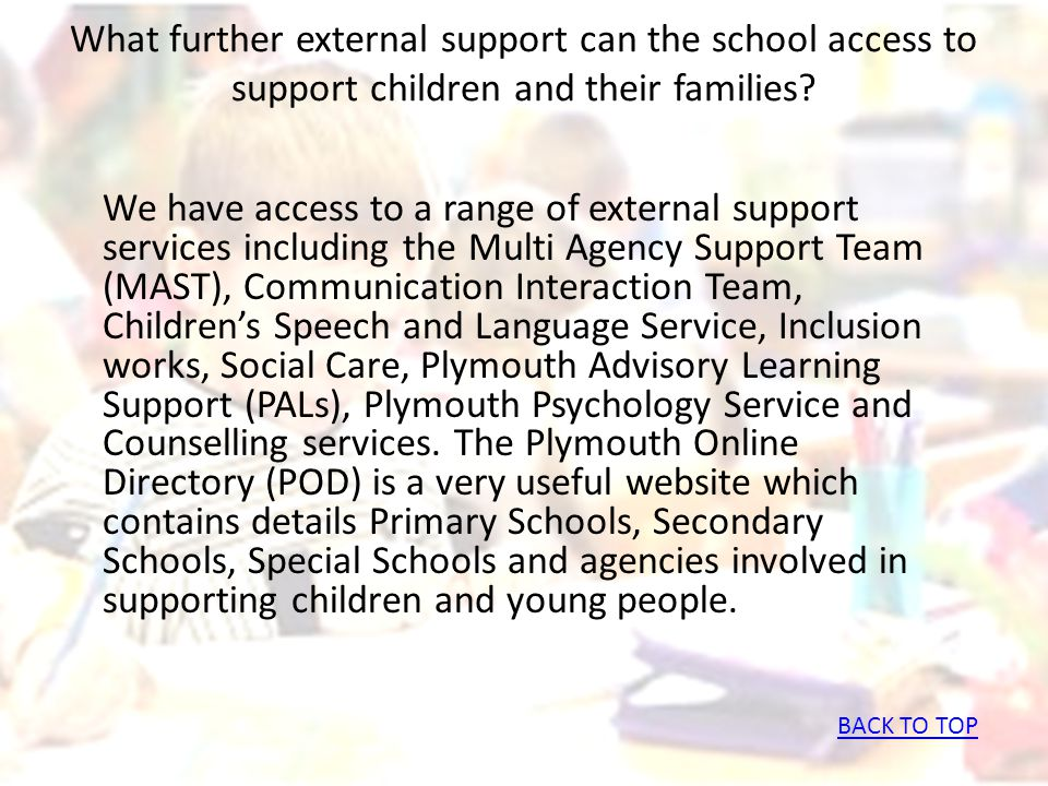 What further external support can the school access to support children and their families? We have access to a range of external support services inc