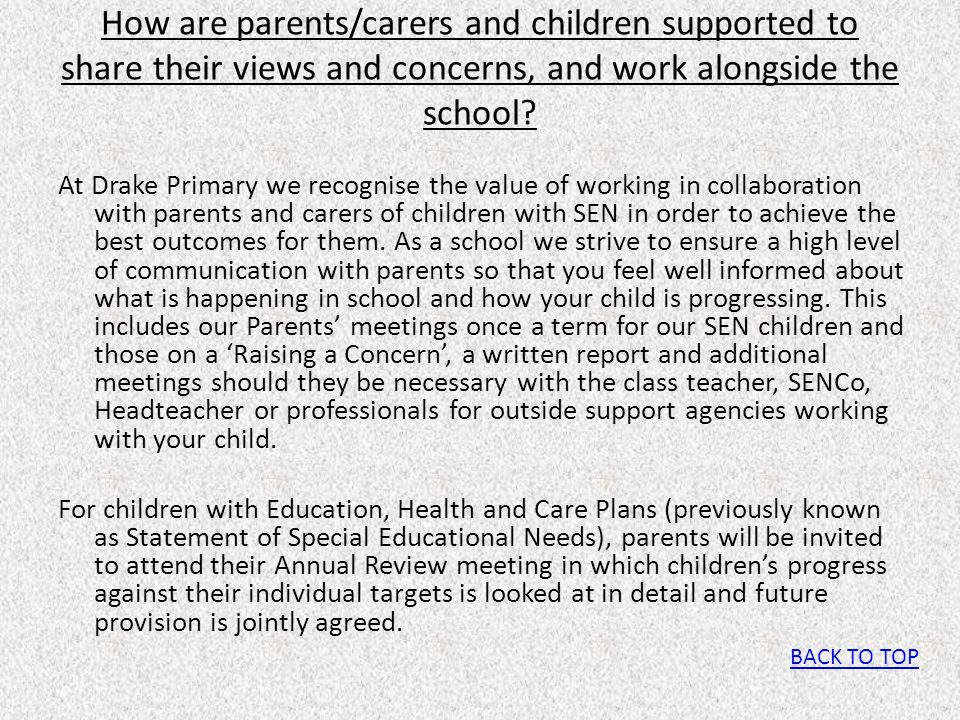 How are parents/carers and children supported to share their views and concerns, and work alongside the school? At Drake Primary we recognise the valu