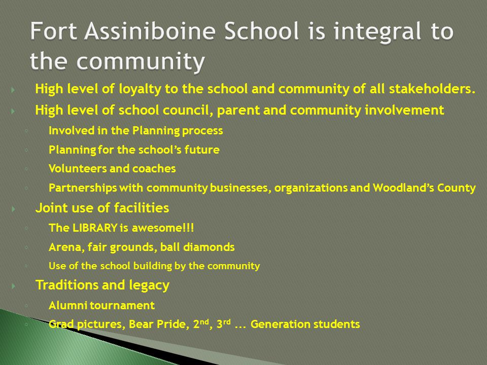  High level of loyalty to the school and community of all stakeholders.