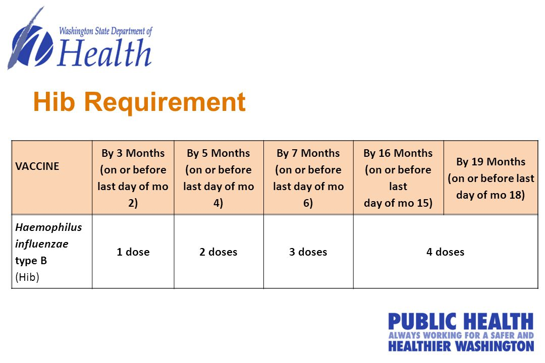 Hib Requirement VACCINE By 3 Months (on or before last day of mo 2) By 5 Months (on or before last day of mo 4) By 7 Months (on or before last day of