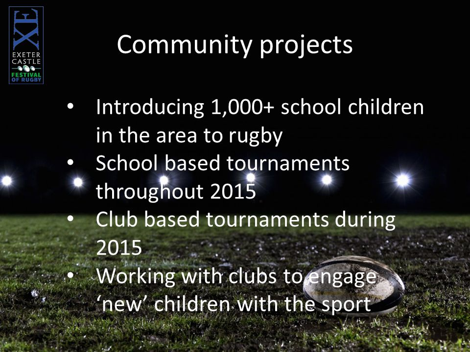 Introducing 1,000+ school children in the area to rugby School based tournaments throughout 2015 Club based tournaments during 2015 Working with clubs to engage 'new' children with the sport Community projects