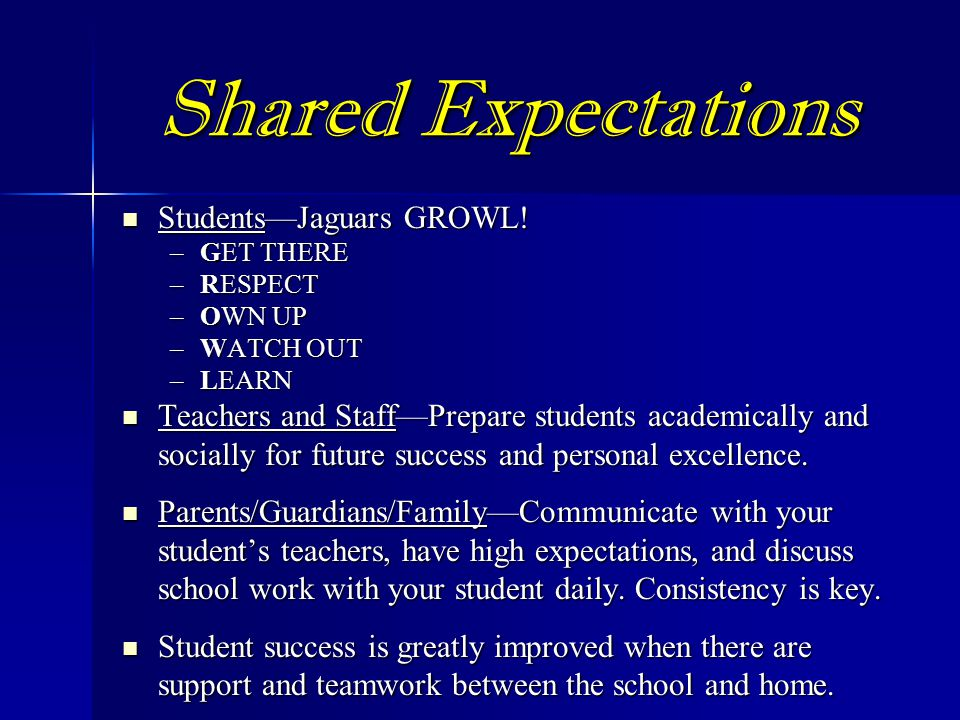 Shared Expectations Students—Jaguars GROWL.Students—Jaguars GROWL.