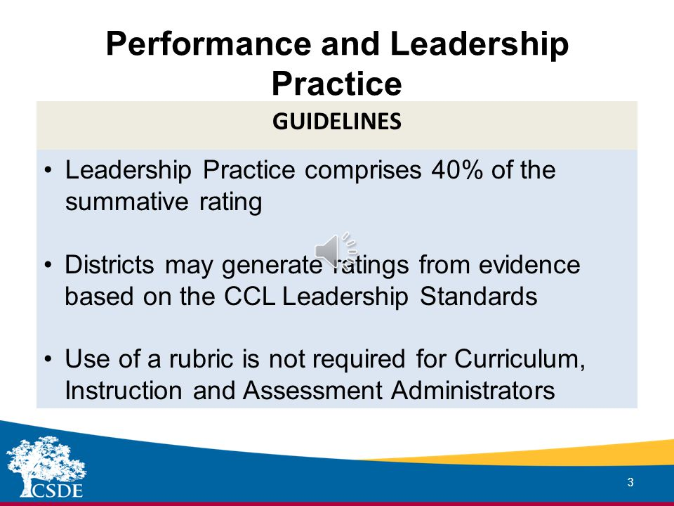 Performance and Leadership Practice 3 GUIDELINES Leadership Practice comprises 40% of the summative rating Districts may generate ratings from evidence based on the CCL Leadership Standards Use of a rubric is not required for Curriculum, Instruction and Assessment Administrators