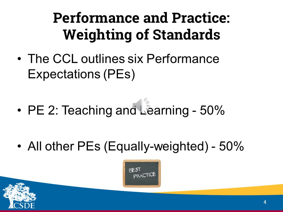 Performance and Practice: Weighting of Standards 4 The CCL outlines six Performance Expectations (PEs) PE 2: Teaching and Learning - 50% All other PEs (Equally-weighted) - 50%