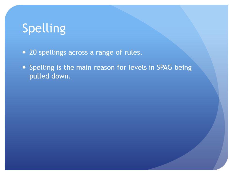 Spelling 20 spellings across a range of rules.