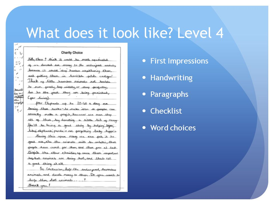 What does it look like Level 4 First Impressions Handwriting Paragraphs Checklist Word choices