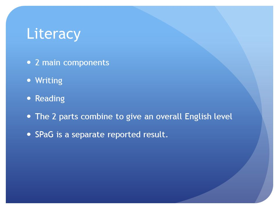 Literacy 2 main components Writing Reading The 2 parts combine to give an overall English level SPaG is a separate reported result.