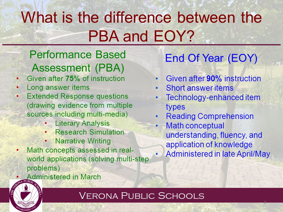 Verona Public Schools What is the difference between the PBA and EOY.