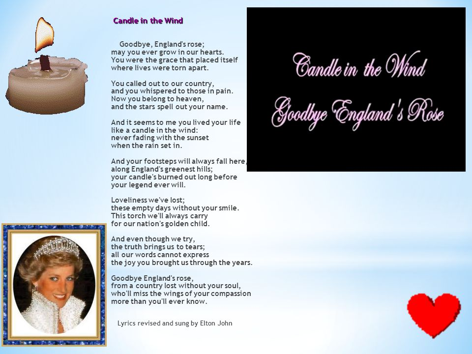 Candle in the Wind Goodbye, England s rose; may you ever grow in our hearts.