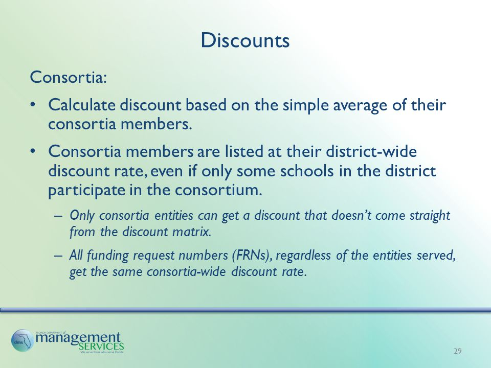 Discounts Consortia: Calculate discount based on the simple average of their consortia members.