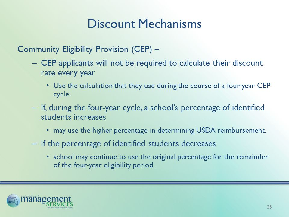 Discount Mechanisms Community Eligibility Provision (CEP) – – CEP applicants will not be required to calculate their discount rate every year Use the calculation that they use during the course of a four-year CEP cycle.