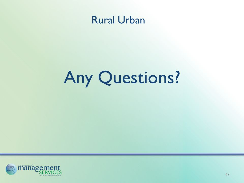 Rural Urban Any Questions? 43