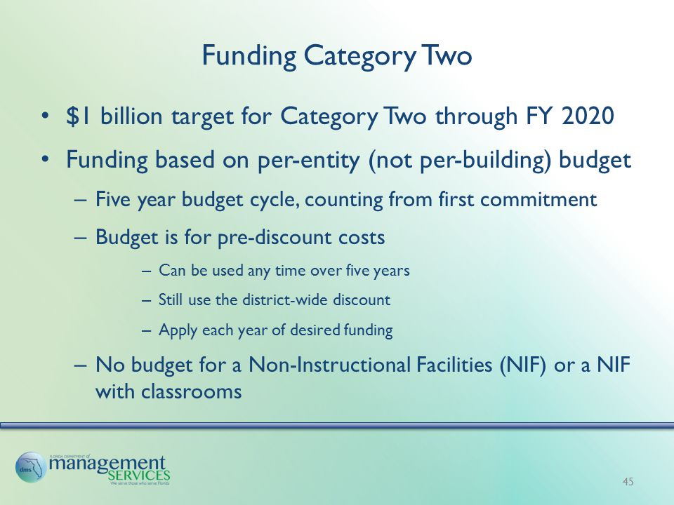 Funding Category Two $1 billion target for Category Two through FY 2020 Funding based on per-entity (not per-building) budget – Five year budget cycle, counting from first commitment – Budget is for pre-discount costs – Can be used any time over five years – Still use the district-wide discount – Apply each year of desired funding – No budget for a Non-Instructional Facilities (NIF) or a NIF with classrooms 45
