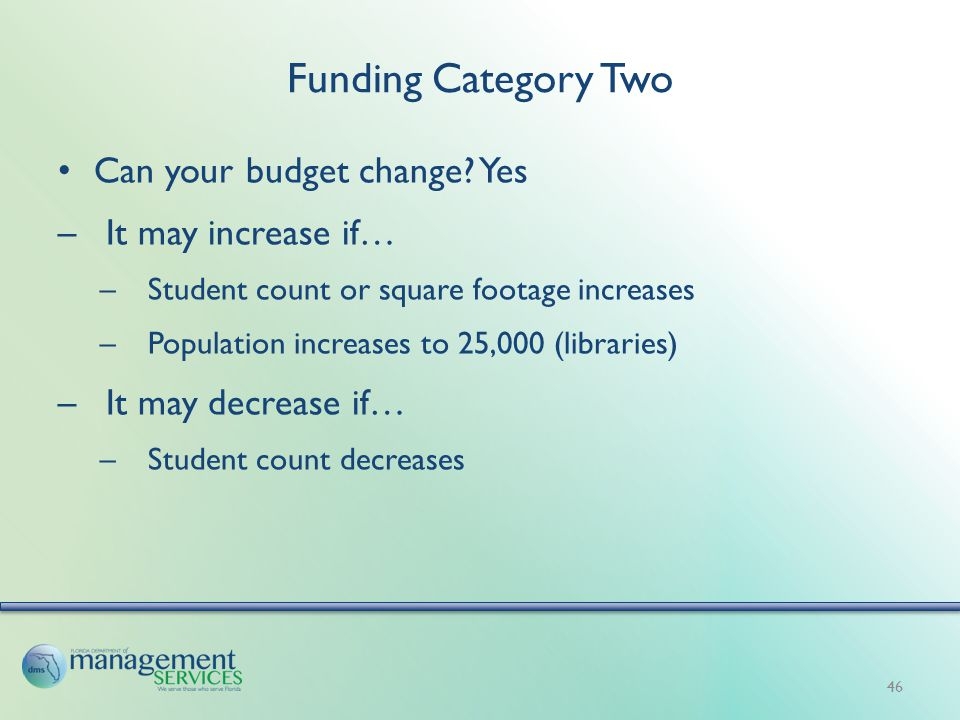 Funding Category Two Can your budget change.
