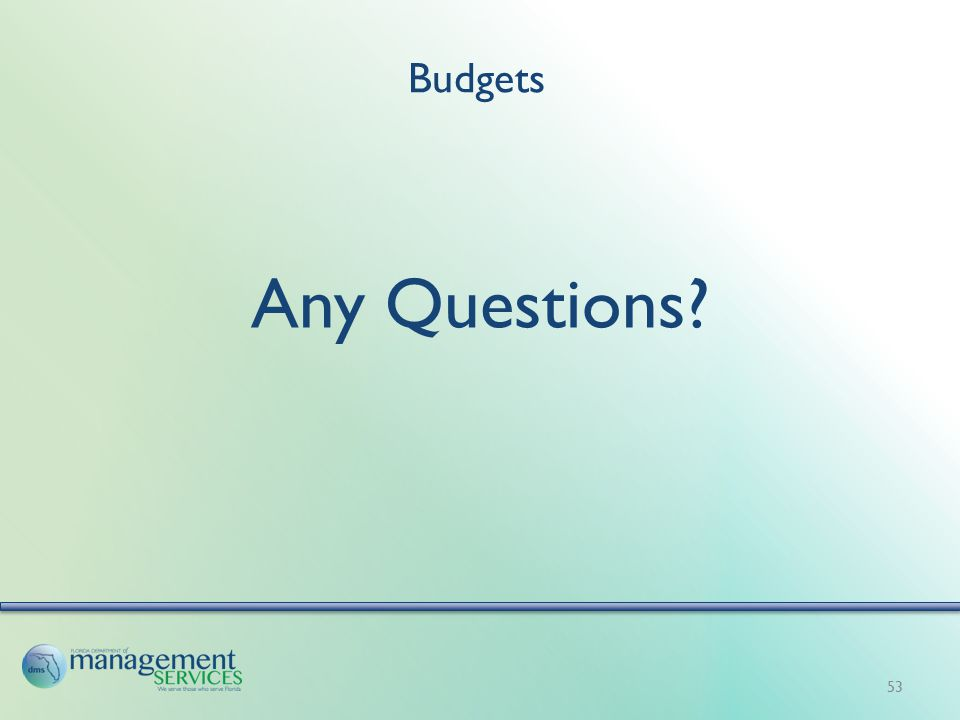 Budgets Any Questions? 53
