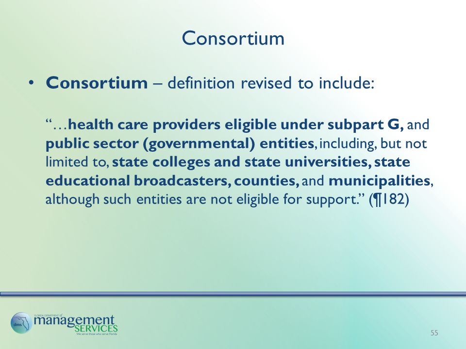 Consortium Consortium – definition revised to include: …health care providers eligible under subpart G, and public sector (governmental) entities, including, but not limited to, state colleges and state universities, state educational broadcasters, counties, and municipalities, although such entities are not eligible for support. (¶182) 55