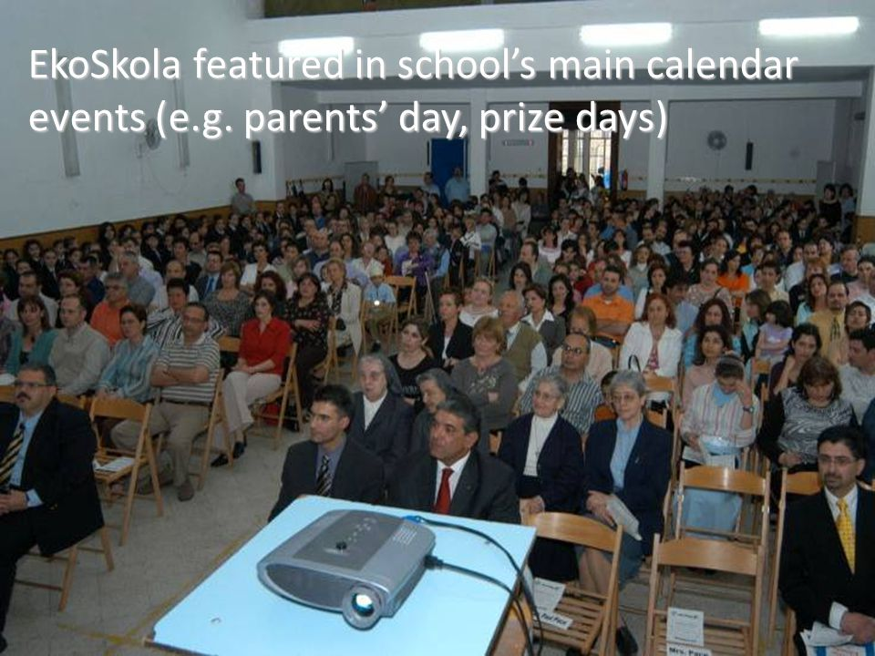 EkoSkola featured in school's main calendar events (e.g. parents' day, prize days)