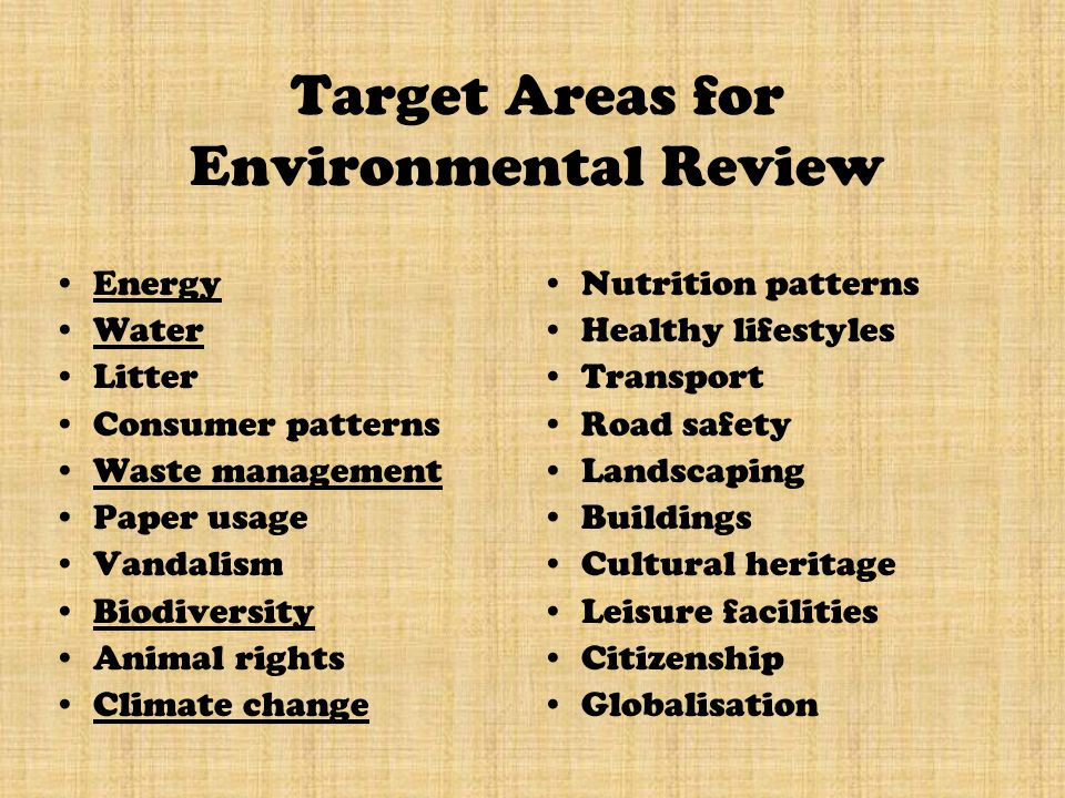Target Areas for Environmental Review Energy Water Litter Consumer patterns Waste management Paper usage Vandalism Biodiversity Animal rights Climate