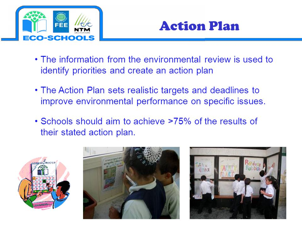 The information from the environmental review is used to identify priorities and create an action plan The Action Plan sets realistic targets and dead