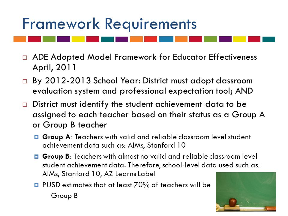 Framework Requirements  ADE Adopted Model Framework for Educator Effectiveness April, 2011  By 2012-2013 School Year: District must adopt classroom evaluation system and professional expectation tool; AND  District must identify the student achievement data to be assigned to each teacher based on their status as a Group A or Group B teacher  Group A: Teachers with valid and reliable classroom level student achievement data such as: AIMs, Stanford 10  Group B: Teachers with almost no valid and reliable classroom level student achievement data.