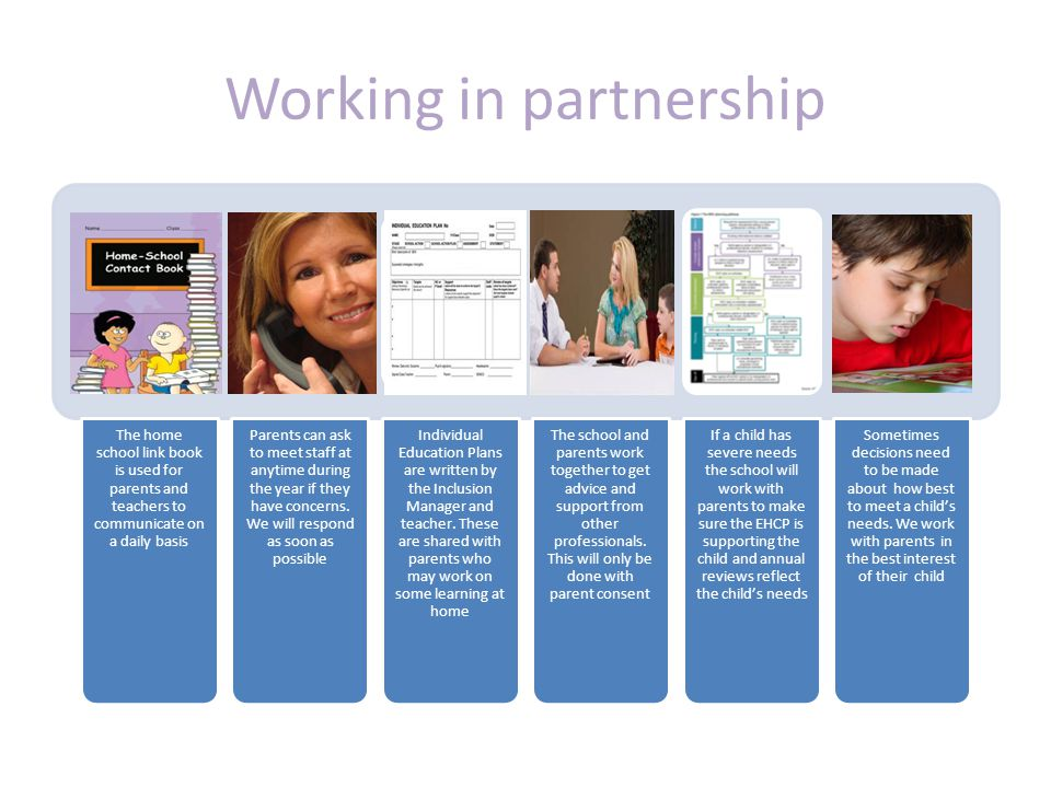 Working in partnership The home school link book is used for parents and teachers to communicate on a daily basis Parents can ask to meet staff at anytime during the year if they have concerns.