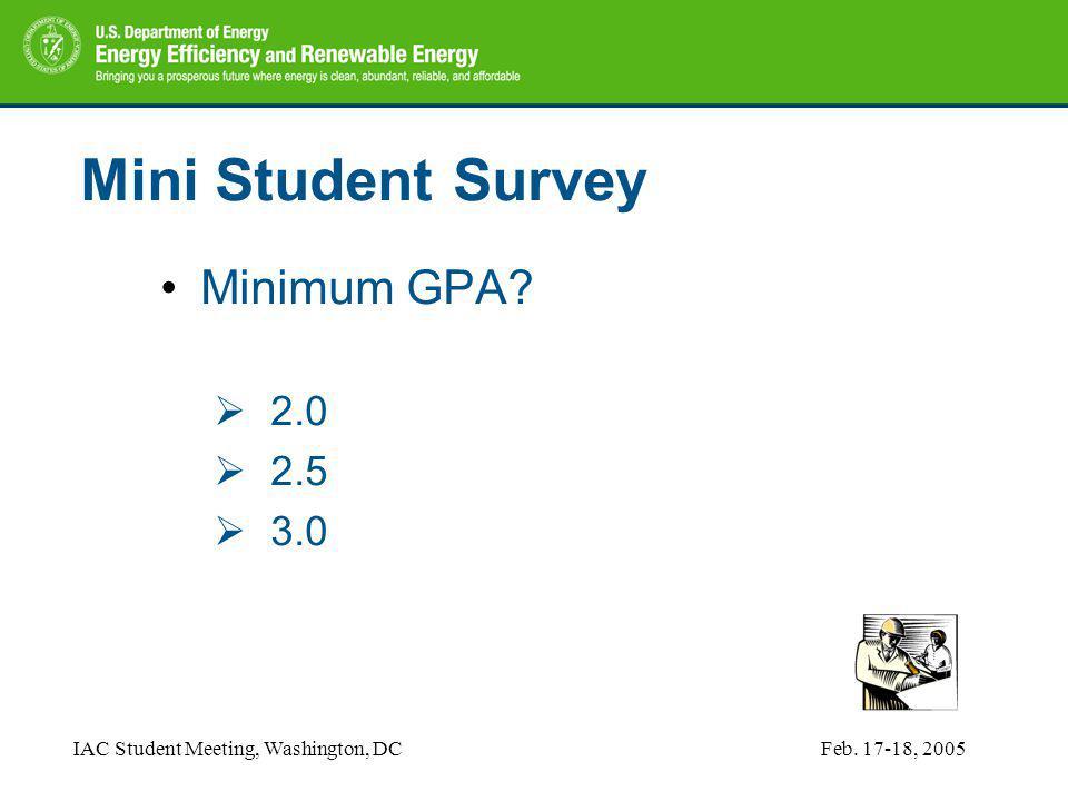 IAC Student Meeting, Washington, DCFeb. 17-18, 2005 Mini Student Survey Minimum GPA.