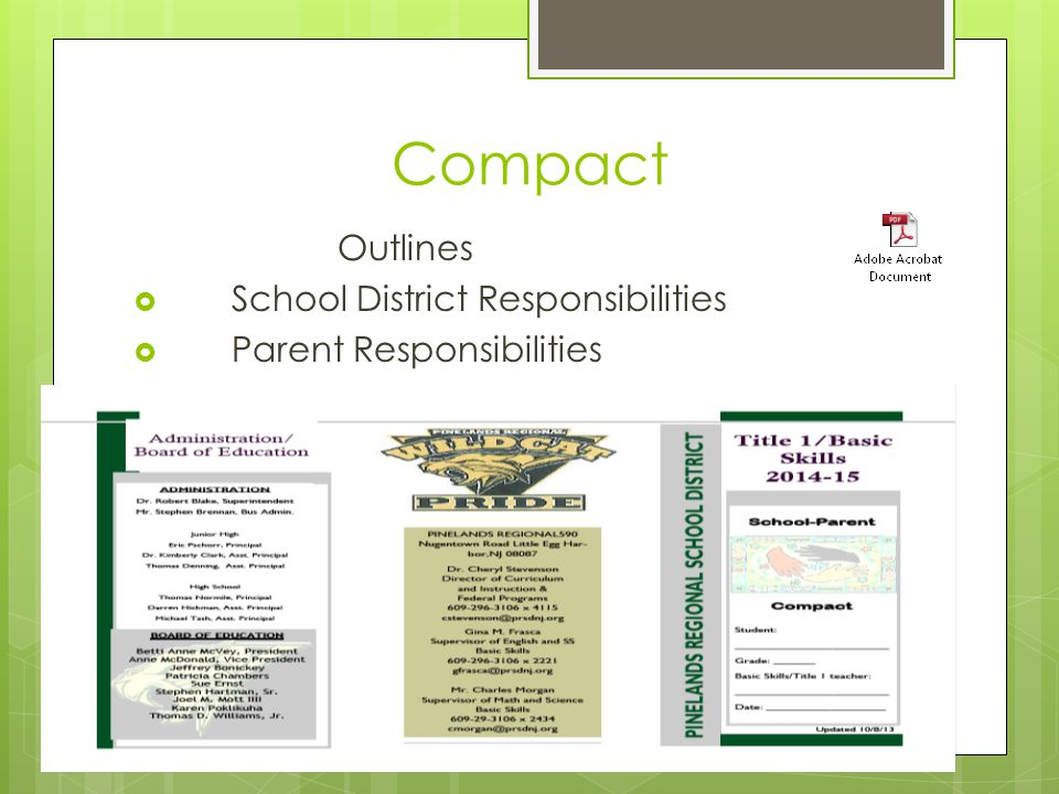 Compact Outlines  School District Responsibilities  Parent Responsibilities  Student Responsibilities