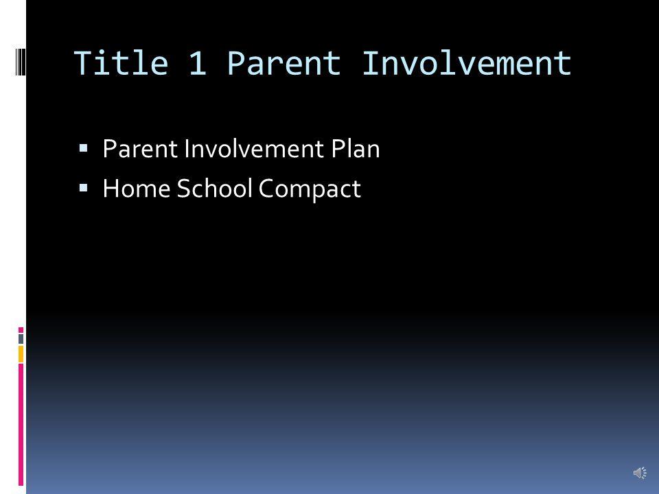 Title 1 Parent Involvement  Parent Involvement Plan  Home School Compact