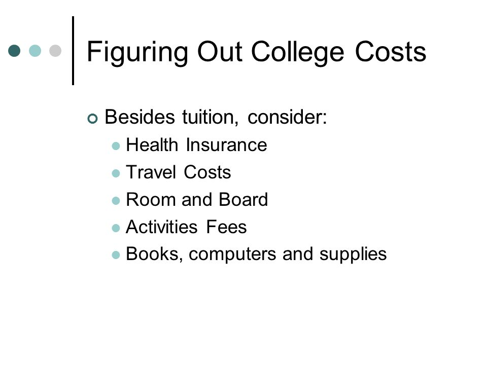 Figuring Out College Costs Besides tuition, consider: Health Insurance Travel Costs Room and Board Activities Fees Books, computers and supplies