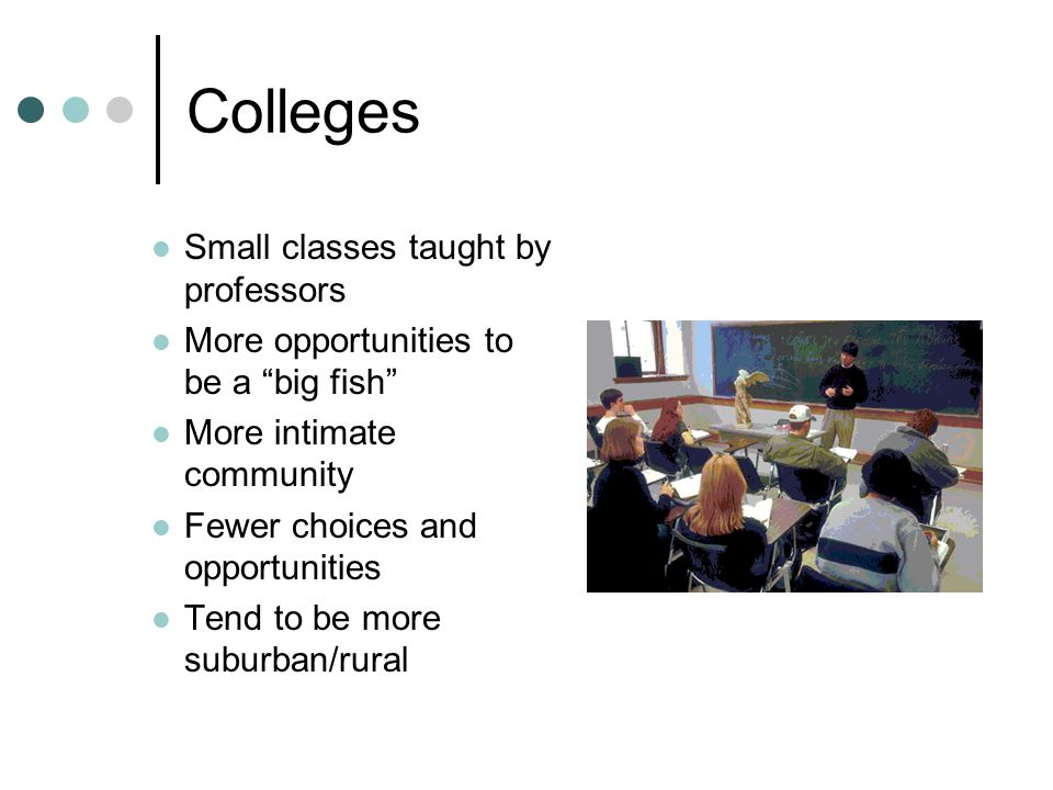 "Colleges Small classes taught by professors More opportunities to be a ""big fish"" More intimate community Fewer choices and opportunities Tend to be m"
