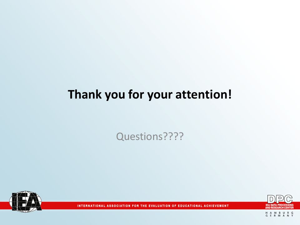 Thank you for your attention! Questions????