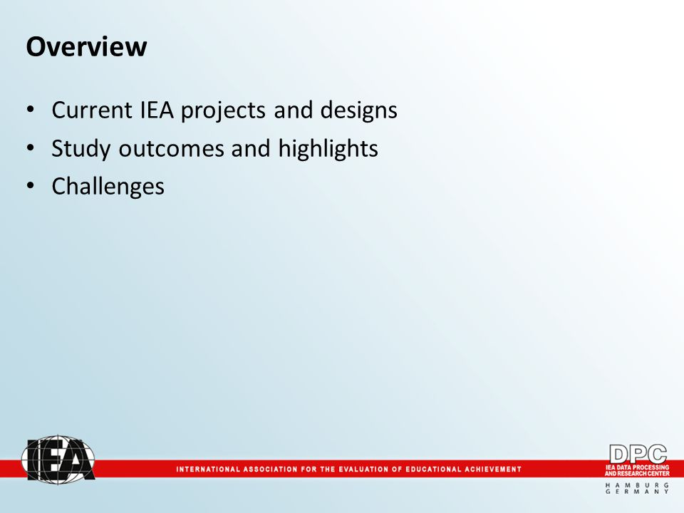 Overview Current IEA projects and designs Study outcomes and highlights Challenges