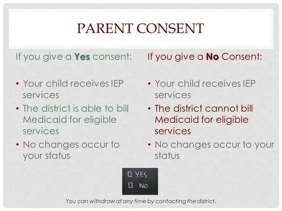 PARENT CONSENT Yes If you give a Yes consent: Your child receives IEP services The district is able to bill Medicaid for eligible services No changes occur to your status No If you give a No Consent: Your child receives IEP services The district cannot bill Medicaid for eligible services No changes occur to your status You can withdraw at any time by contacting the district.