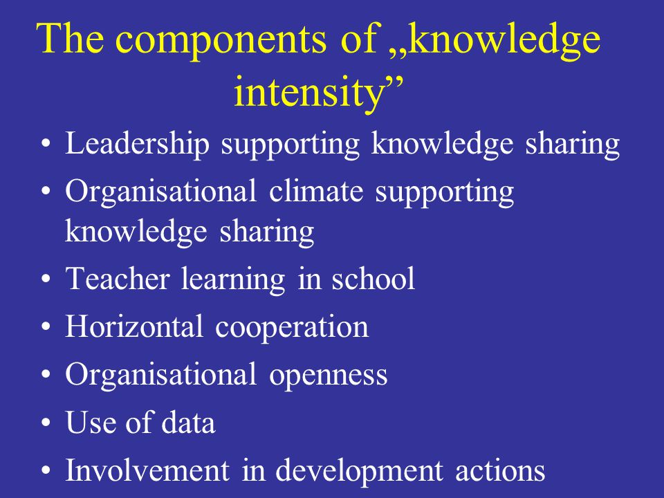 """The components of """"knowledge intensity"""" Leadership supporting knowledge sharing Organisational climate supporting knowledge sharing Teacher learning i"""