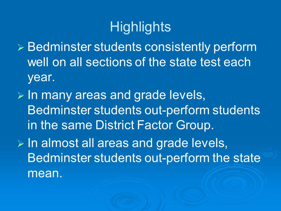 Highlights   Bedminster students consistently perform well on all sections of the state test each year.   In many areas and grade levels, Bedminst